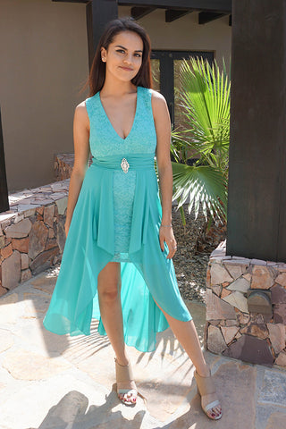 Mint Lace Bodycon Dress - High Low Maxi Dress - Bodycon Dress