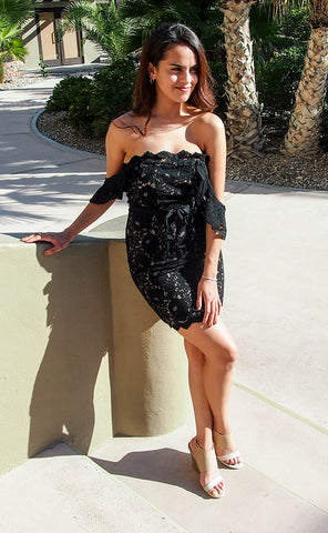 Precious Love Black Lace Off The Shoulder Bodycon Dress