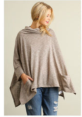 All Eyes On Me Mocha Brown Cowl Neck Long Sleeve Poncho Sweater Top