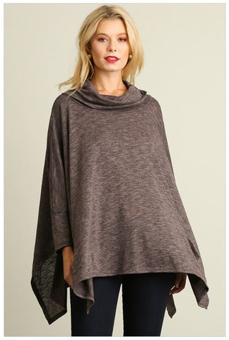 All Eyes On Me Grey Cowl Neck Long Sleeve Poncho Top