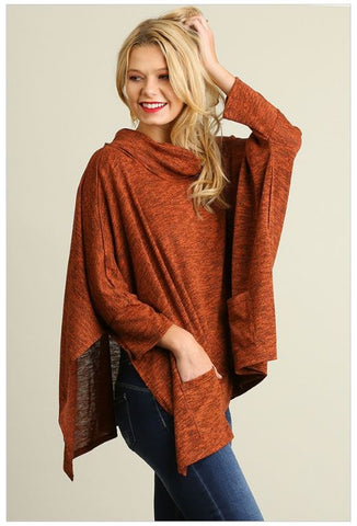 All Eyes On Me Rust Red Cowl Neck Long Sleeve Poncho Top