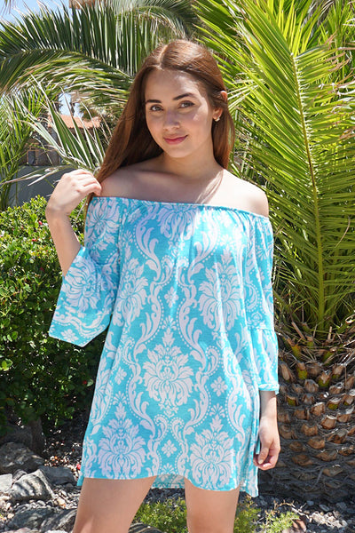 Cute Blue And White Print Dress - Off The Shoulder Boutique Dress - $37