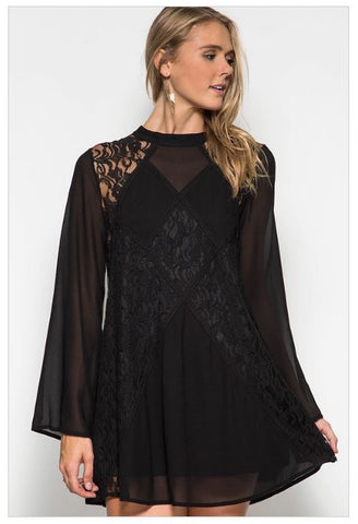 BEST LACE SCENARIO BLACK LACE SILK DRESS