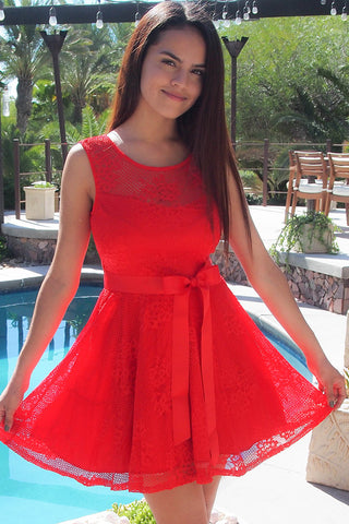 Lovely Red Lace Dress - Red Lace Skater Dress - Lace Cocktail Dress