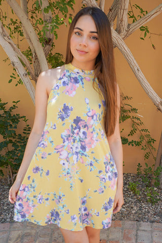 Cute Yellow Summer Dress - Floral Print Summer Dress - Halter Dress For Summer