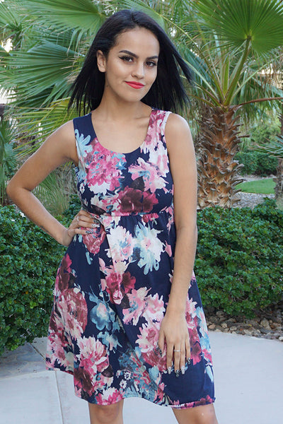 Cute Floral Print Dress - Chic Navy Blue Dress - Sleeveless Boutique Dress