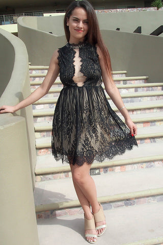 Still The One Black Eyelash Lace Midi Dress