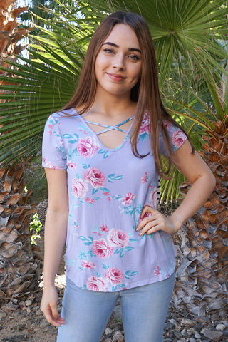 Best Seller Cute Lavender Top - Floral Print Boutique Top