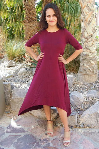 Trendy Long Sleeve Dress - High Low Dress With Sleeves - Cute Red Long Sleeve Dress