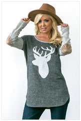 Oh Deer Steer Charcoal Grey French Terry with Suede Elbow Patches Holiday Christmas Top