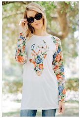Oh Floral Deer French Terry Tunic Top with Floral Long Sleeves