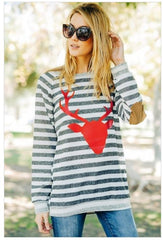Oh Red Deer Stripe French Terry with Suede Elbow Patches Christmas Holiday Sweater Top