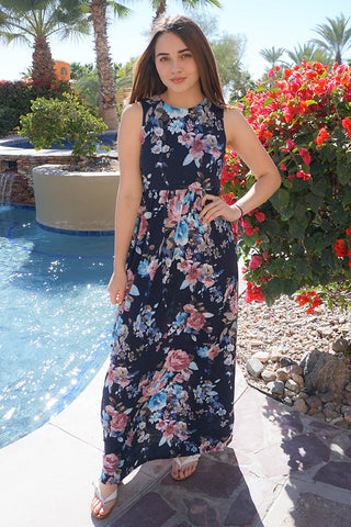 Lovely Navy Blue Dress - Floral Print Dress - Trendy Maxi Dress