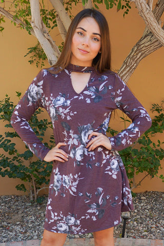 Casual Burgundy Dress - Floral Print Casual Dress - Long Sleeve Dress