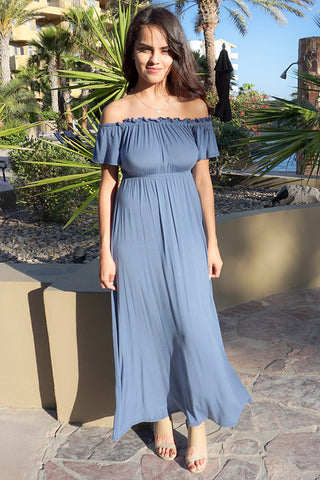OTS Maxi Dress - Blue Off The Shoulder Maxi Dress - Boutique OTS Dress