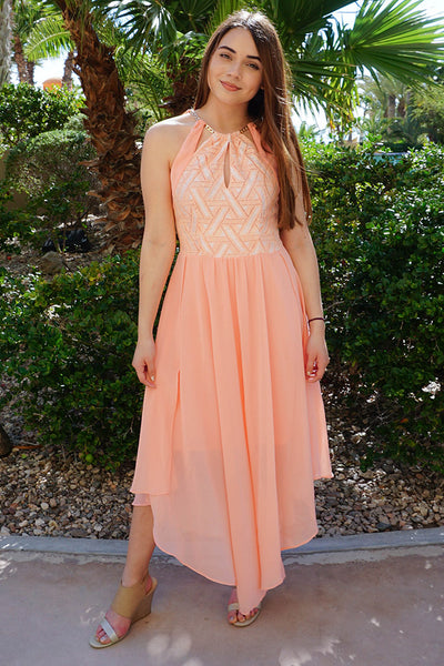 Lovely Pink Halter Dress - Cutout Maxi Halter Dress - Pink Chiffon Halter Dress