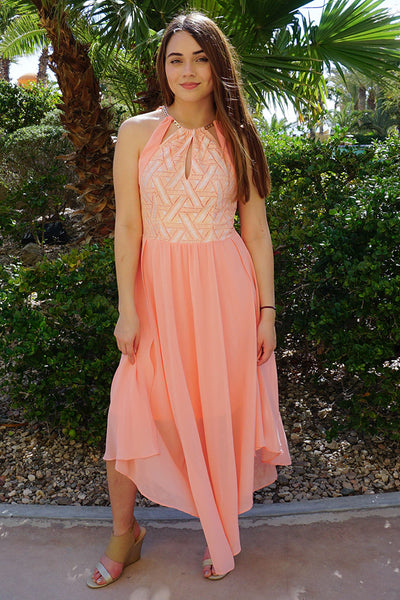 There She Goes Blush Pink Halter Maxi Dress