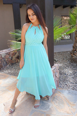 Lovely Mint Dress - Cutout Halter Dress - Halter Maxi Dress