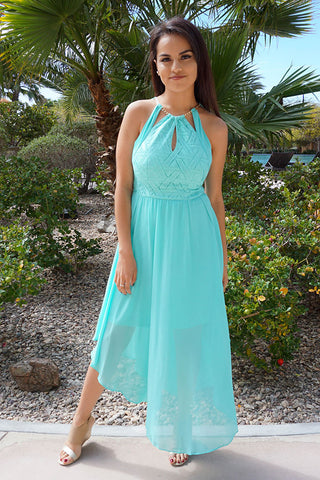 There She Goes Mint Green Halter Cut Out Maxi Dress