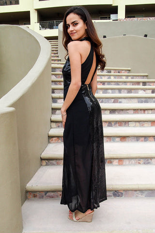 Stunning Sequins Dress - Black Backless Dress - Sequin Maxi Gown