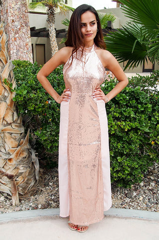 Lovely Rose Gold Sequin Dress - Long Cocktail Dress - Dress