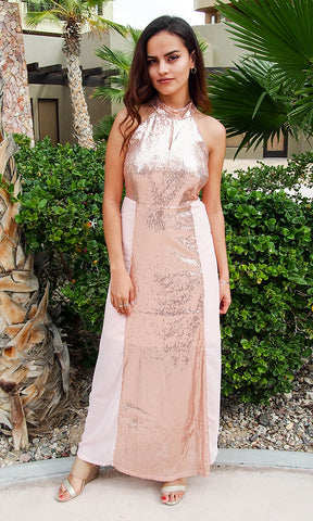 Lovely Rose Gold Sequin Dress - Rose Gold Sequin Holiday Dress