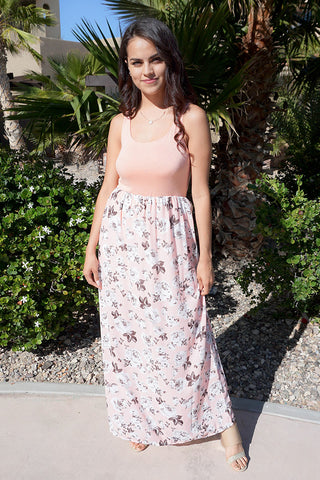 Lovely Peach Dress - Floral Print Maxi Dress - Boutique Floral Dress