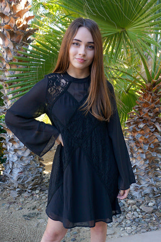 Pretty Black Dress - Black Shift Dress - Lace Shift Boutique Dress