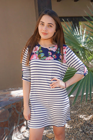 Cute White Floral Print Dress - Navy Blue Striped Dress - Shift Dress