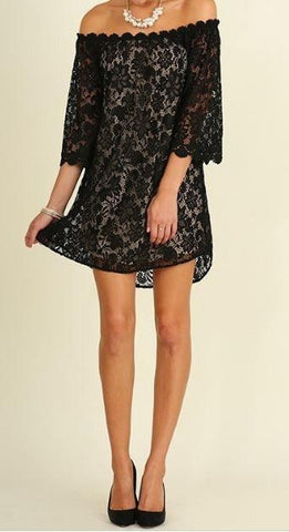 Take My Hand Black Lace Off The Shoulder Shift Dress