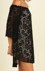 Black Lace Illusion Off The Shoulder Dress