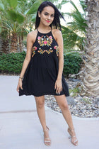 A Day In The Life Black Embroidered Halter Skater Dress 4
