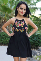 A Day In The Life Black Embroidered Halter Skater Dress 1