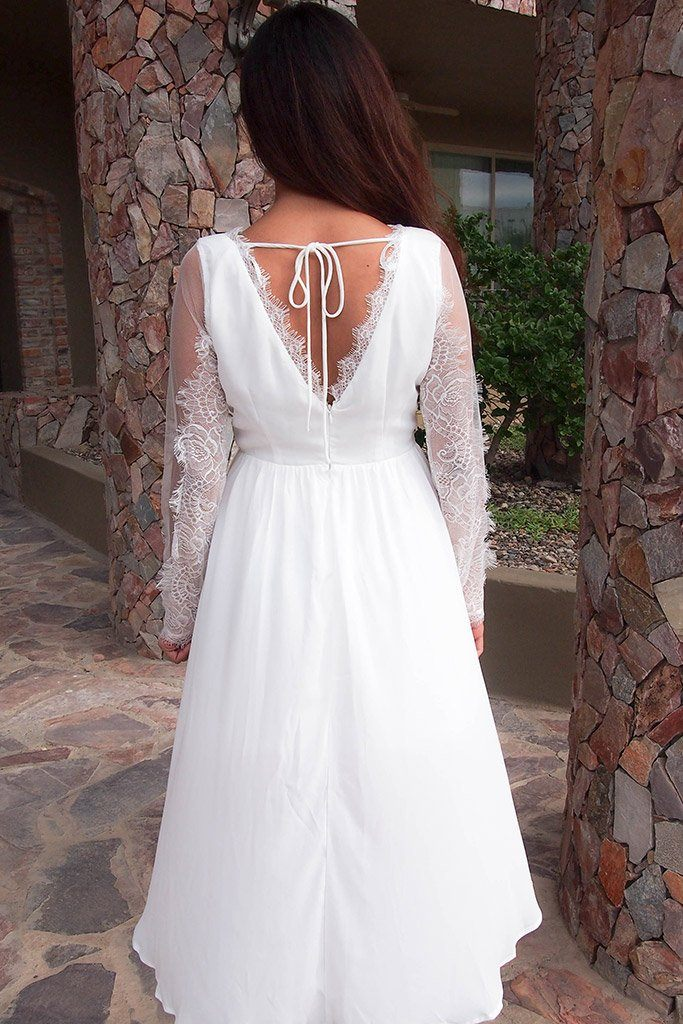 A Fairy Tale White Long Sleeve Lace High Low Dress, womens cutout midi dress, back, Ledyz Fashions Boutique