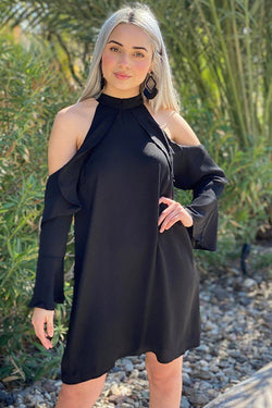 A Little Crush Black Cold Shoulder Shift Dress 1