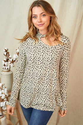 A Little Wild Beige Leopard Cut Out Long Sleeve Top 1