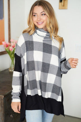 Across Central Park Black Multi Plaid Turtleneck Sweater 1