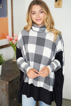 Across Central Park Black Multi Plaid Turtleneck Sweater 3
