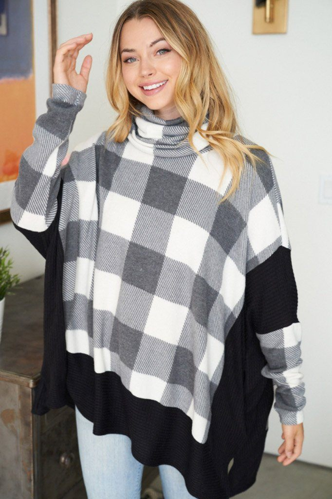 Across Central Park Black Multi Plaid Turtleneck Sweater 4