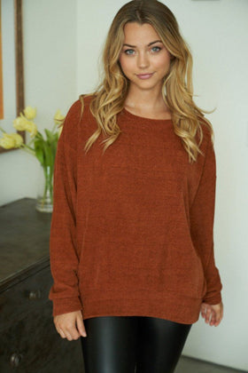 Afternoon Daydream Rust Chenille Sweater 1