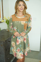 Afternoon Romance Olive Green Floral Print Dress 3