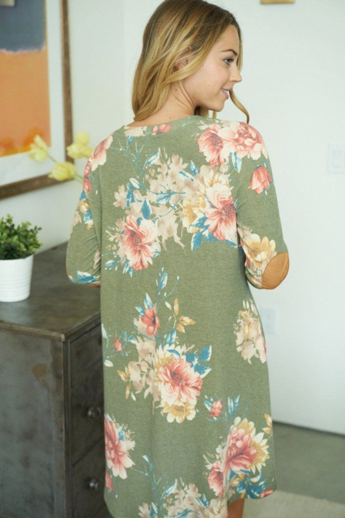 Afternoon Romance Olive Green Floral Print Dress 2