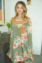 Afternoon Romance Olive Green Floral Print Dress 4