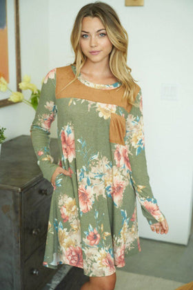Afternoon Romance Olive Green Floral Print Dress 1
