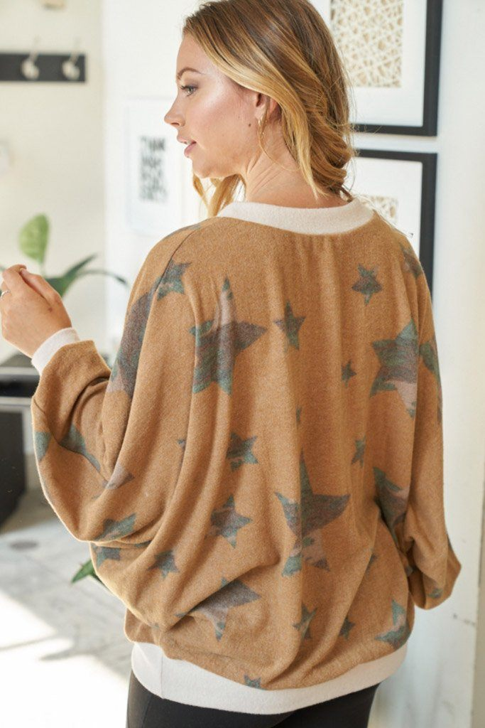 Aim High Brown Camo Star Print Top 2