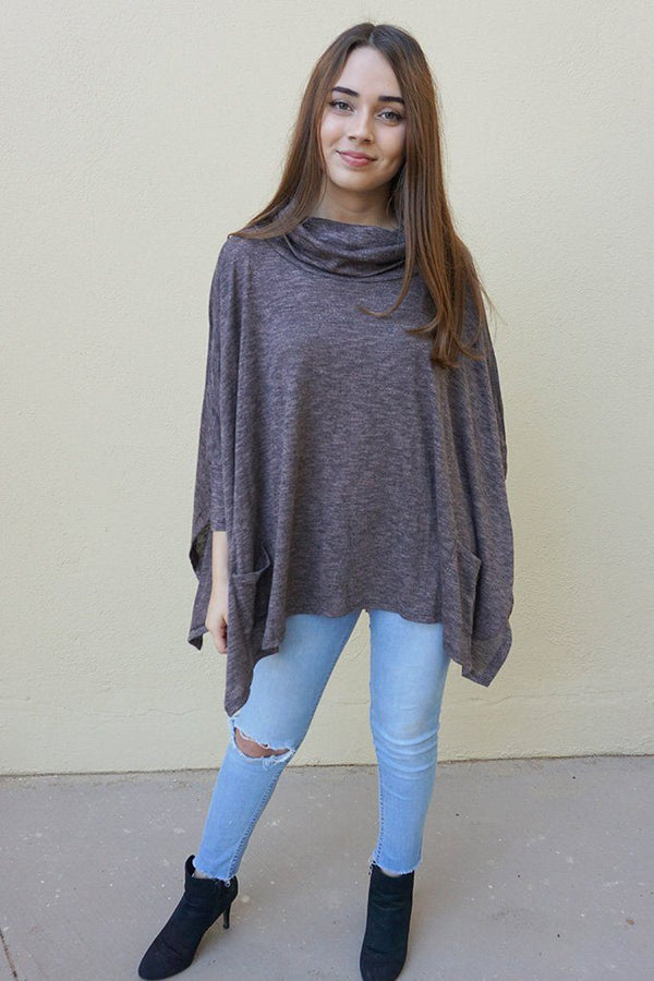 All Eyes On Me Ash Grey Cowl Neck Pullover Poncho Top 3