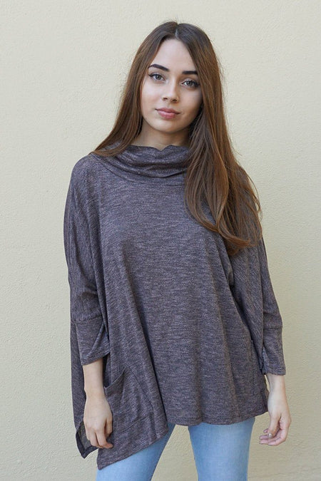 All Eyes On Me Ash Grey Cowl Neck Pullover Poncho Top 1