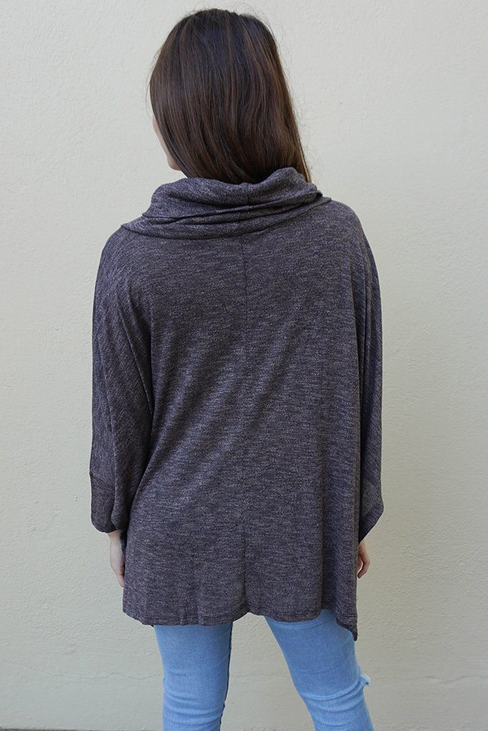 All Eyes On Me Ash Grey Cowl Neck Pullover Poncho Top 4