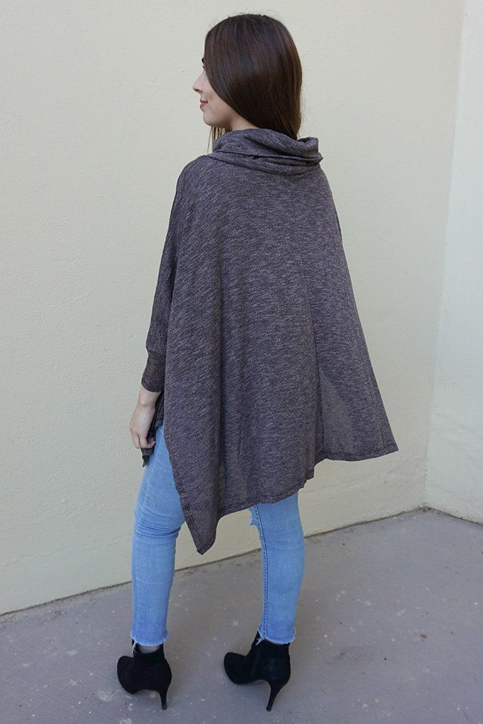 All Eyes On Me Ash Grey Cowl Neck Pullover Poncho Top 2