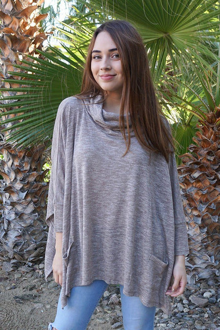 All Eyes On Me Mocha Brown Cowl Neck Pullover Poncho 1